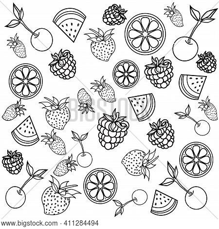 Vector Coloring Book For Meditation And Relax.fruits.black And White Image On A White Background Of