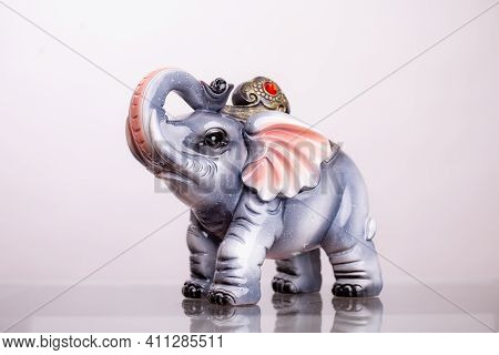 Feng Shui Elephant Figure Isolated On White Background