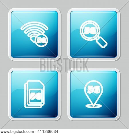 Set Line 5g Network, Search, Sim Card And Location Icon. Vector