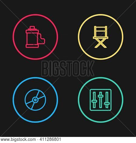 Set Line Cd Or Dvd Disk, Sound Mixer Controller, Director Movie Chair And Camera Film Cartridge Icon