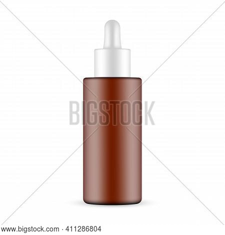 Plastic Frosted Amber Dropper Bottle, Front View, Isolated On White Background. Vector Illustration