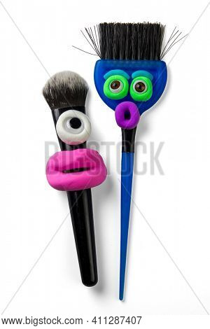 Animated makeup brushes with eyes and pink lips by soft clay. Emotions things