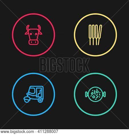 Set Line Taxi Tuk Tuk, Chicken Tikka Masala, Aroma Sticks, Incense And Cow Icon. Vector