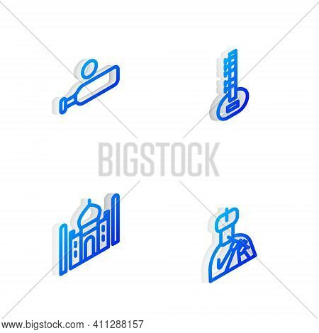 Set Isometric Line Sitar, Wood Cricket Bat And Ball, Taj Mahal And Indian Man Plays Flute Icon. Vect