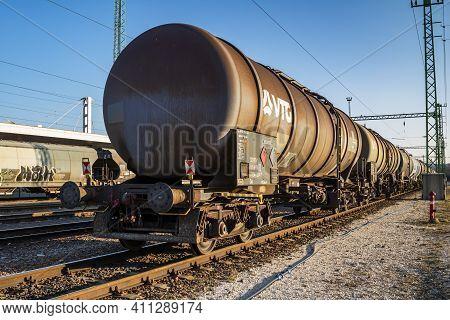 Budapest, Hungary - February 28, 2021: International Train Transportation. Cargo Freight Train Wagon