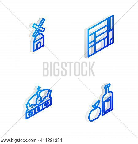 Set Isometric Line House Edificio Mirador, Windmill, Crown Of Spain And Apple Cider Bottle Icon. Vec