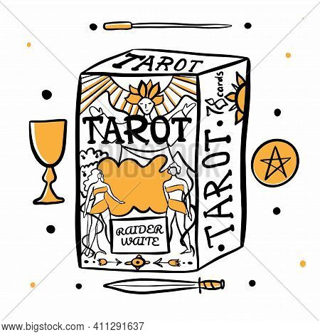 Hand Drawn Illustration Of Witches Hand And Tarot Cards. Magic Symbols. Flat And Cartoon Style. Wicc