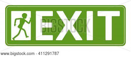 Emergency Door Exit Sign, Green Safety Evacuation Indicator. Running Man Pictorial International Rep