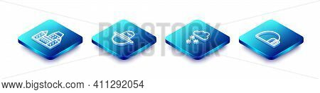 Set Isometric Line Chateau Frontenac Hotel, Canadian Ranger, Cloud With Snow And Igloo Ice House Ico