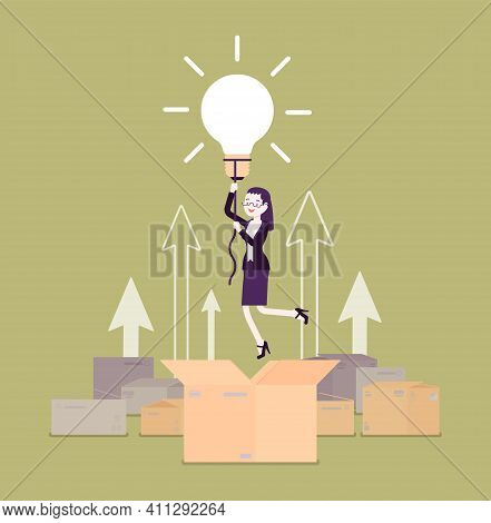 Think Outside The Box, Bright Creative Woman. Original Female Person Rising Up High With Lamp Bulb,