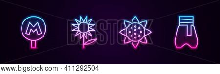 Set Line Metro Or Underground, Sunflower, And Cossack Pants. Glowing Neon Icon. Vector