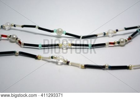 Female Beads Sets Made Of Beads, Large Beads And Located On A White Background.