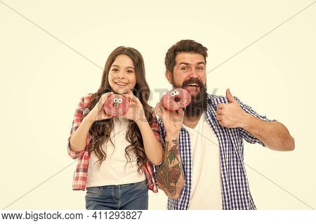 Bakery Menu Filled With Delight. Happy Family Approve Donuts Isolated On White. Bakery Shop. Bakery