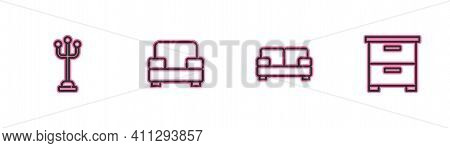 Set Line Coat Stand, Sofa, Armchair And Furniture Nightstand Icon. Vector