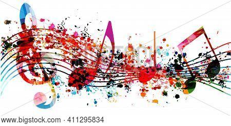 Colorful Musical Promotional Poster With Musical Notes Isolated Vector Illustration. Artistic Backgr