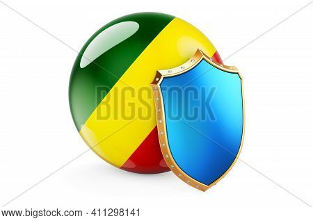 Congo Flag With Shield. Protect Of Congo Concept, 3d Rendering Isolated On White Background