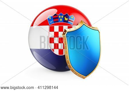 Croatian Flag With Shield. Protect Of Croatia Concept, 3d Rendering Isolated On White Background