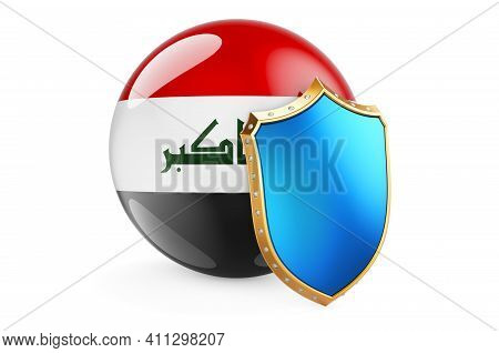 Iraqi Flag With Shield. Protect Of Iraq Concept, 3d Rendering Isolated On White Background