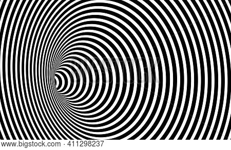 Wormhole Optical Illusion, Geometric Black And White Abstract Hypnotic Worm Hole Tunnel, Abstract Tw