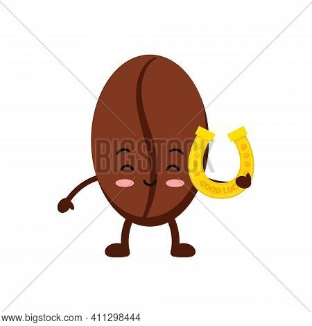 St Patrick Day Coffee Bean Icon Isolated On White Background. Coffee Grain Character With Irish Luck
