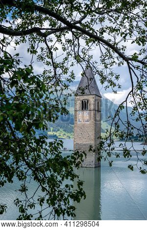 The Famous Sunken Church Of Reschensee, Austria