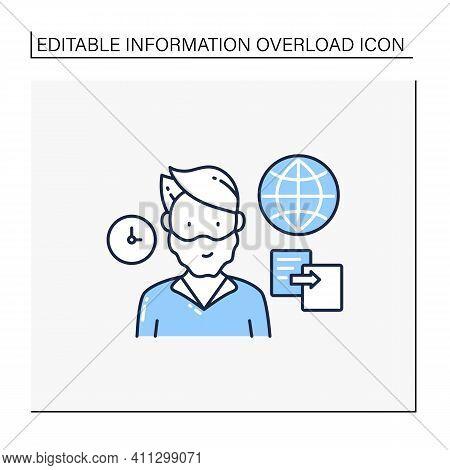 Data Duplication Line Icon. Ease Duplication Data Across The Internet. Copied Information, Plagiaris