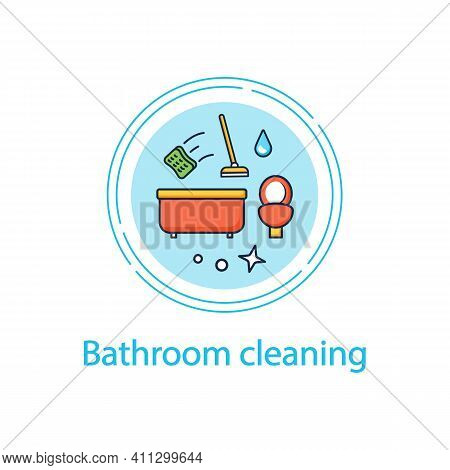 Bathroom Cleaning Concept Line Icon. Home Cleanup. Bath And Toilet Cleanup. Washing, Wiping. Cleanin