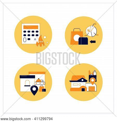 Online Food Flat Icons Set. Calories Calculator, Office And Home Delivery, Ready-made Ration. Shoppi