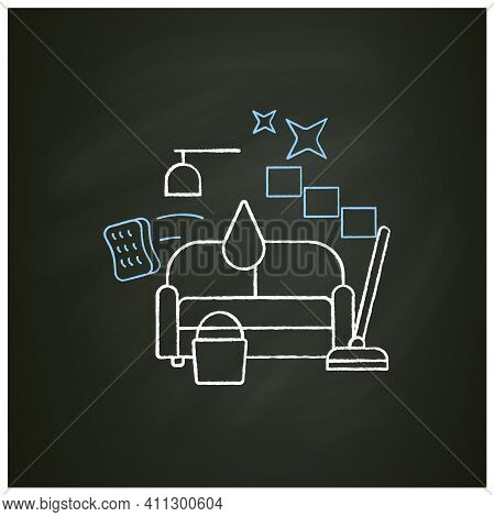 Living Room Cleaning Chalk Icon. Home Cleanup. Sofa Dry. Clutter Cleanup. Mopping, Wiping, Dusting.