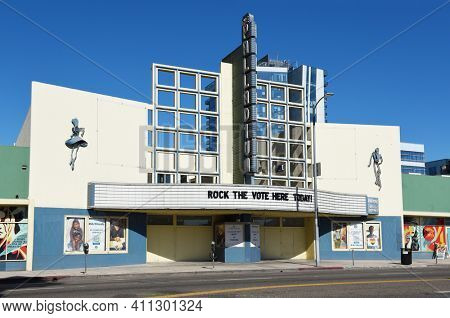 HOLLYWOOD, CALIFORNIA - 10 NOV 2020:  The Hollywood Palladium, a theater built in the Streamline Moderne, Art Deco style.