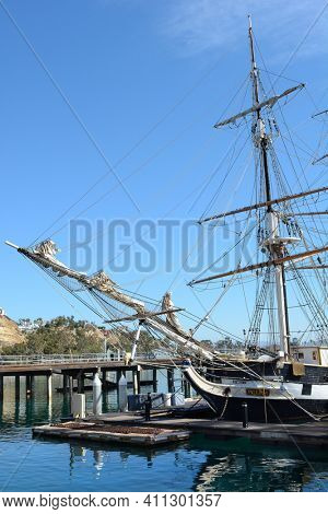 DANA POINT, CA - NOVEMBER 4, 2016: The Pilgrim tall ship a dock. The Pilgrim is part of the Orange County Ocean Institutes educational program.