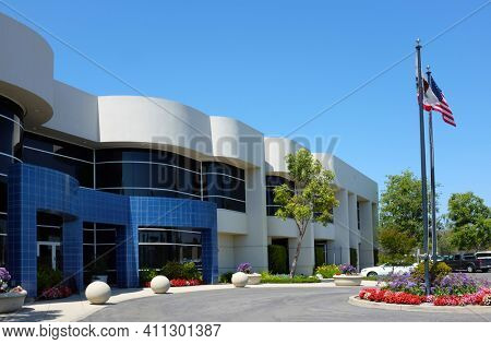 IRVINE, CALIFORNIA - APRIL 27, 2018: Irvine Ranch Water District Water Recycling Operations Center. The IRWD delivers more than 25 million gallons of recycled water per day.