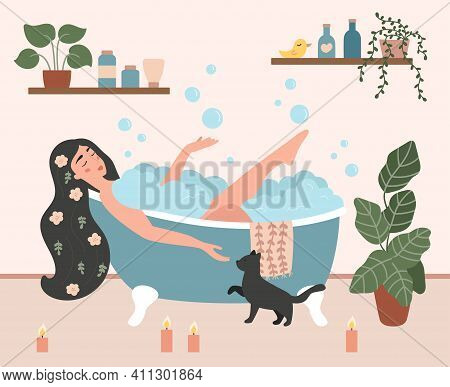 Woman Taking A Bath In Cozy Bathroom With Foam Bubbles. Flowers In A Womans Hair. Hand Drawn House P