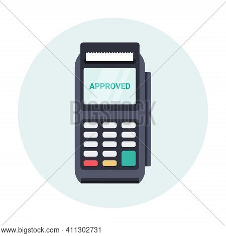 Pos Nfc Payment Machine Icon. Nfc Terminal Card Vector Payment Transfer