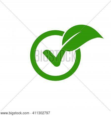 Check Leaf Logo Vegetarian Quality Ecology Vegan Green Eco Element Organic Symbol
