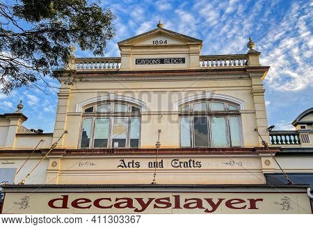 Childers, Australia - February 28, 2021: Former Gaydons Buildings, Built In 1894, In The Picturesque