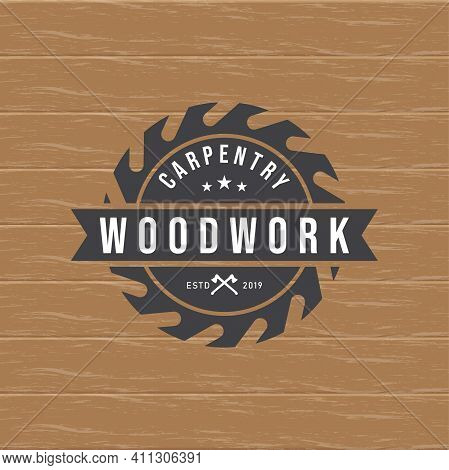 Woodwork Gear Logo Design Template Vector Element Isolated