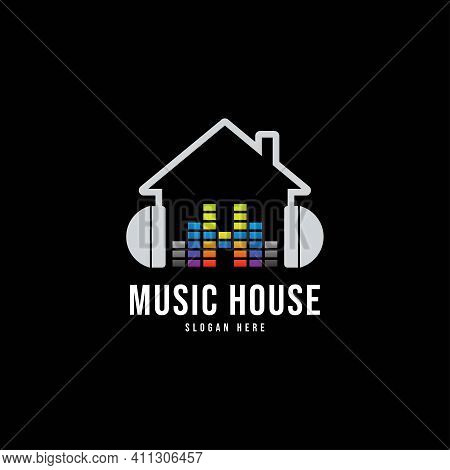 Creative Simple Music House Logo, Music Studio Logo Home Design Vector Template