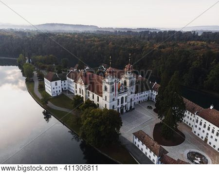 Aerial View Of Rheinau Abbey Benedictine Cloister Monastery On Rhine River Islet Island Zurich Switz