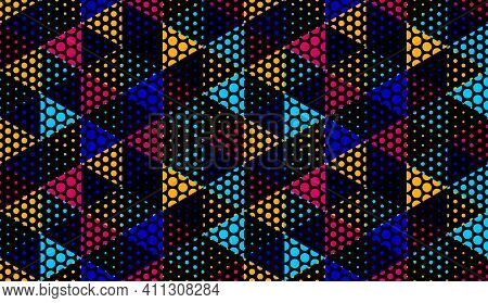 Seamless Dotted Cubes Vector Background, Dots Boxes Repeating Tile Pattern, 3d Architecture And Cons