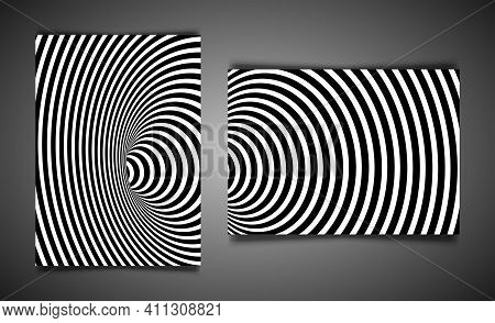 Set Template Wormhole Optical Illusion, Geometric Black And White Abstract Hypnotic Worm Hole Tunnel