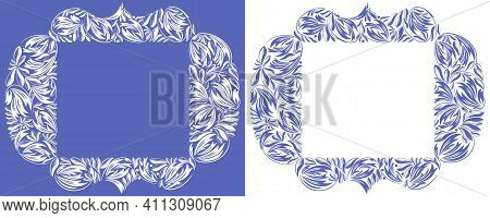 Floral Frame Made Of Leaves Vector Vintage Design, Decorative Blank Classic Style Border, Luxury Bea