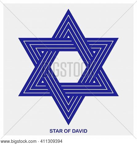 Star Of David Ancient Jewish Symbol Made In Modern Linear Style Vector Icon Isolated On White, Hexag