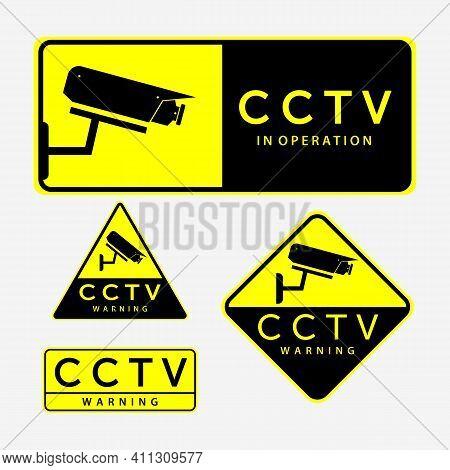 Set Bundle Cctv Secure Cam Logo Vector Design Vintage Illustration