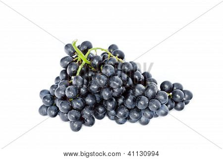 Black Wine Grapes Isolated On White Background