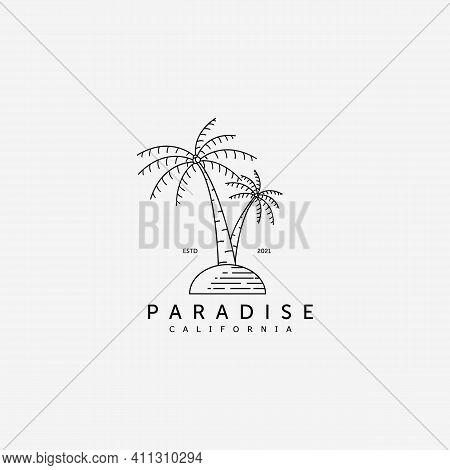 Palm Tree Logo Vector Design Illustration Line Art, Coconut Concept, Paradise Island Logo, Ocean Con