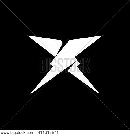 Initial Letter Xs Or Sx Logo Template With Geometric Bolt Or Thunder Illustration In Flat Design Mon