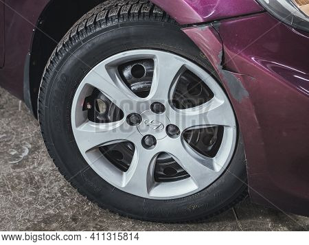 Novosibirsk, Russia - March 03 2021: Hyundai Solaris, Car Wheel With Alloy Wheel And New Rubber On A