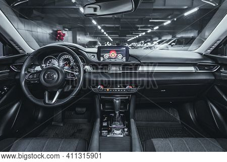 Novosibirsk, Russia - March 03 2021: Mazda 6, Interior Of New Modern Suv Car With Automatic Transmis