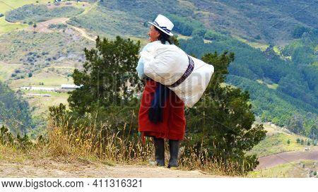 Cuenca, Ecuador - September 22, 2018: Ecuadorian Countryside, Azuay Province. Indigenous Village Wom